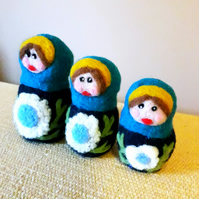 Needle felted Russian matryoshka dolls