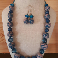 Handmade teal and dusky pink necklace and earrings set