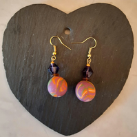 Polymer clay dangly earrings