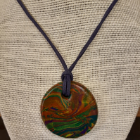 Colourful polymer clay pendant
