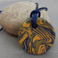 Colourful polymer clay round pendant