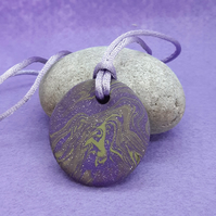 Sparkly purple polymer clay pendant