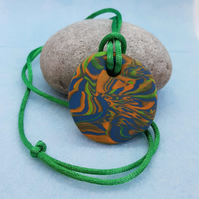 Multicoloured polymer clay pendant