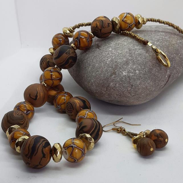 Elegant mocha brown polymer clay necklace and earrings set