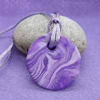Purple polymer clay pendant
