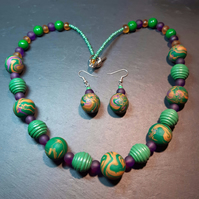Brightly coloured polymer clay necklace and earrings set