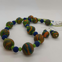 Vibrant polymer clay necklace and earrings set