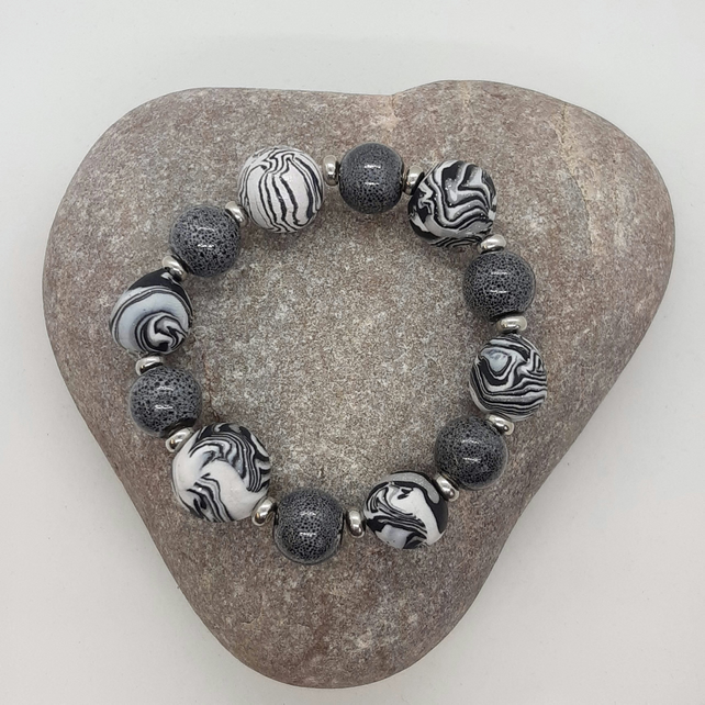 Black and white polymer clay bracelet
