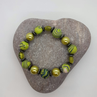 Lime green and silver polymer clay bracelet