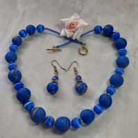Royal blue and gold polymer necklace and earrings set