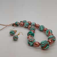Mint green and coral polymer clay necklace and earring set