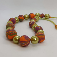 Multicoloured  polymer clay necklace