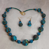 Multicoloured polymer clay necklace and earrings set