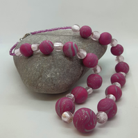 Hot pink polymer clay and glass necklace