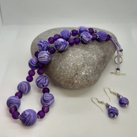 Sparkly purple and lilac polymer clay necklace and earrings set