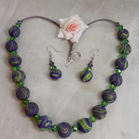 Polymer clay purple and green necklace and earrings set