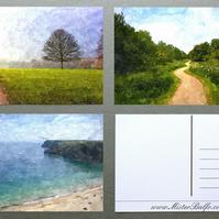 Set of 3 Digital Art Postcards with Watercolour Effect