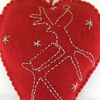 Felt Embroidered Red Christmas Heart Decoration