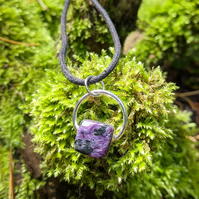 Purple Charoite and Sterling Silver pendant necklace