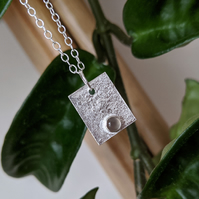 Grey moonstone and reticulated silver pendant necklace