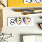 Scribble Hearts Hand Painted Wooden Heart Earring Studs