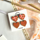 Red and Gold Leopard Hearts Hand Painted Wooden Earrings