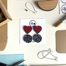 Red Heart and Black and White Polka Dot Hand Painted Wooden Stud Set