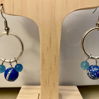 Boho style earrings - blue agate