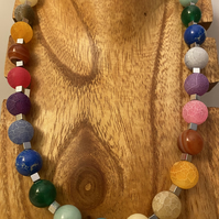 Rainbow necklace with semi-precious stones