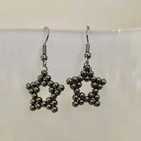 Swarovski grey pearl star earrings