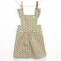 Yellow Car Toddler Pinafore Dress