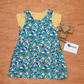 Blue Monster Alien Baby or Toddler Girl Pinafore Dress