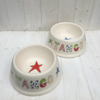 Personalised Dog and Cat Bowl with Groovy Stars and Funky Font