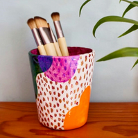 Hand Made Brush or Pen Pot Abstract Painted Design with Metallic details