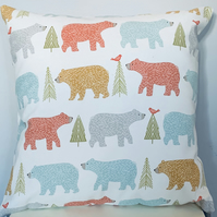 "Medium 16"" Handmade Cushion in Fryetts Bear fabric"