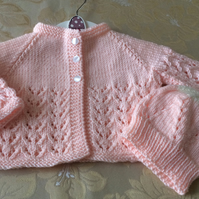 Baby Girl's Knitted Lace Cardigan and Bonnet