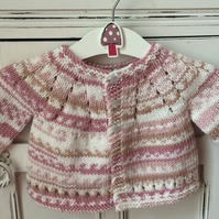 Baby Girl's Knitted Cardigan and bonnet