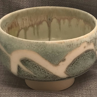 Hand thrown stoneware bowl with fascinating glaze, wax resist motif outside (B5)