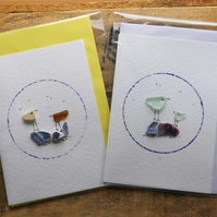 Pack of 2 white card seaglass bird & flower cards