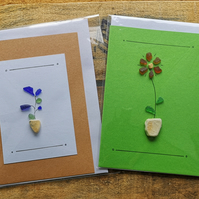 Pack of 2:colourful seaglass bird and flower cards