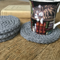 Thick Grey Crocheted Coaster (Set of 4)