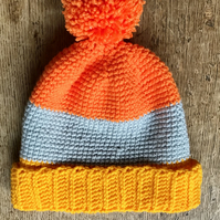 Super bright colour block hat (age 3-5)