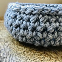Wide, chunky blue grey crocheted bowl