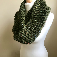 Dark Green Tweedy Hand Knit Cowl Super Squishy