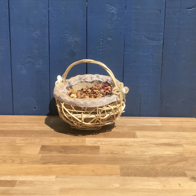 Flower Girl Basket. Rustic Random Weave