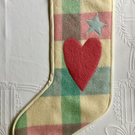 Christmas Stocking for child or adult upcycled from felted wool blankets