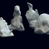 Paint your own 3D Dinosaurs, Set of 4 Handmade Plaster Dinosaurs, Painting Kit