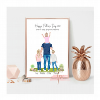 Personalised Fathers Day Family Wall Art Print, Home Gift, Family Art Drawing