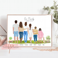 Personalised Family Wall Art Print, Home Decor Gift, Family Art Drawing