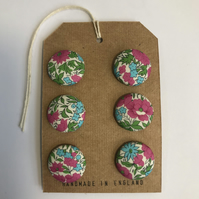 LIBERTY Rosalind print Tana Lawn handmade covered buttons, 15mm or 19mm set of 6
